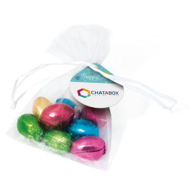 Image of Promotional Organza Bag Filled With foil Wrapped Easter Chocolate Mini Eggs