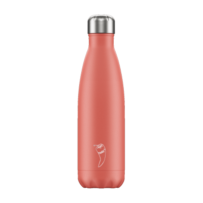 Image of Branded Chilly's Bottles Pastel Coral 500ml. Reusable Refill Bottle