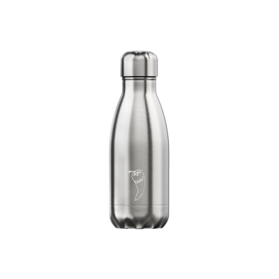 Image of Engraved Chilly's Bottle Silver Stainless Steel 260ml, Official Chilly's Bottles