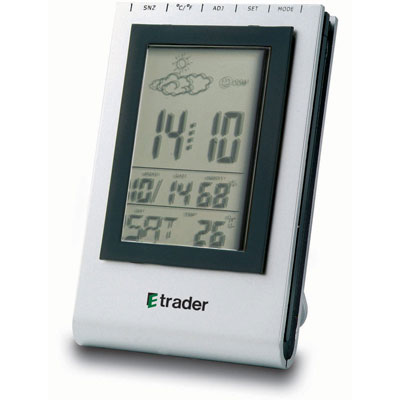 Image of Printed Desk Clock With Alarm, Snooze, Calendar, Thermometer and Hygrometer.