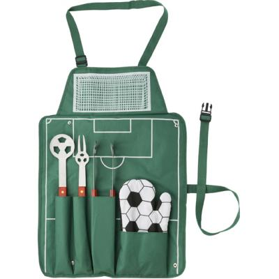 Image of Printed BBQ Set.Promotional 5pc Football BBQ set in a apron