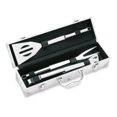 Image of Branded BBQ Set.Promotional ASADOR 3 Piece BBQ Set with Aluminium Case.
