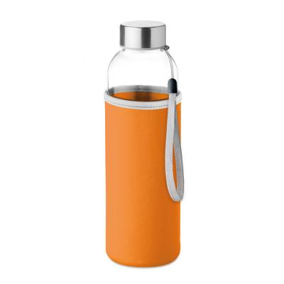 Image of Printed Glass Bottle With Orange Soft Touch Pouch 500ml
