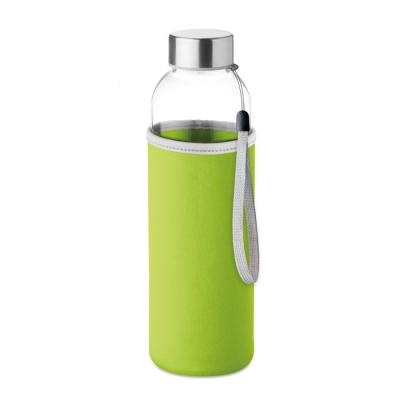 Image of Promotional Glass Bottle With Lime Green Soft Touch Pouch 500ml